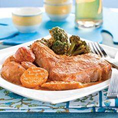 Côtelettes de porc à l'indienne pour mijoteuse Pork Recipes, Healthy Recipes, Healthy Meals, Crockpot, Steak, Turkey, Nutrition, Oriental, Slow Cooker Recipes