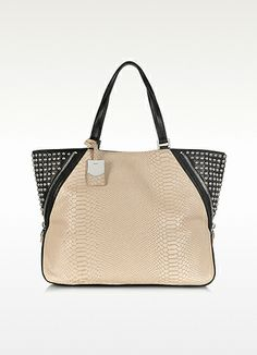 DKNY+Python+Printed+Leather+Large+Zip+Tote+with+Studs