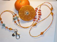 """Beaded Lanyard Handmade ID Badge Holder Key Chain Clip Necklace Tangerine Swirl With orange Mixed Seed Bead Chain Glass Faceted Bead Accents 38"""" NEW -- Awesome products selected by Anna Churchill"""