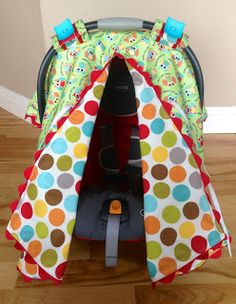 Car seat canopy with slit tutorial. & How to make your own baby car seat carrier covers. FREE baby car ...