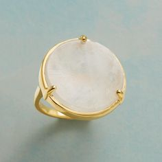 FOCUS MOONSTONE RING--A three-pronged, 22kt gold-plated ring holds a glowing slice of moonstone and the attention of all. Exclusive. Whole sizes 6 to 10.