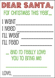 Dear Santa Printable Wish List - #printable #christmas