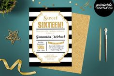 Sweet Sixteen Birthday Template by Incredible Greeting Cards on @creativemarket