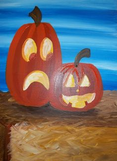 """Double Trouble"" - What a pair?! These mischievous jack-o-lanterns are looking to do a little more tricking than treating.    www.PinotsPalette.com"