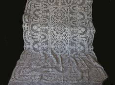 SOLD....Fine European Hand Made Lace Tablecloth with Flower Baskets 67' x 98'