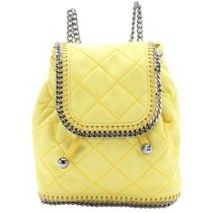 Stella McCartney Canary yellow quilted faux suede 'Falabella' mini... ($923) ❤ liked on Polyvore featuring bags, backpacks, handbags, borse, butterflies, canary, mini bag, yellow backpack, beige bag and quilted chain shoulder bag
