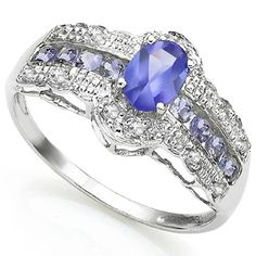 This enthralling tanzanite diamonds ring is the perfect everyday accessory. The wonderful round tanzanite is rare in shape and color. This gorgeous ring showcases one Egyptian blue tanzanite and eight pieces tanzanite gemstones set in 0.925 sterling silver with platinum. The splendid genuine white diamonds are a perfect touch to the brilliant tanzanite and simply enhance its beauty. This ring is selling by every second, so hurry and get yours today. Today's price: $16.99