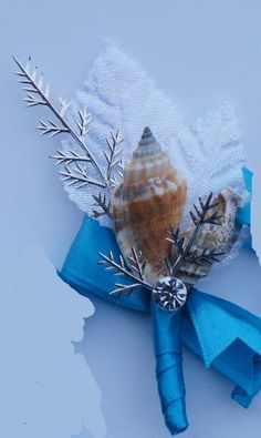 Seashell White and Turquoise / Malibu Boutonniere * You can find more details by visiting the image link.