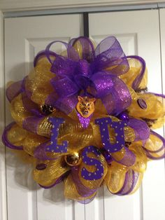 A personal favorite from my Etsy shop https://www.etsy.com/listing/107257123/lsu-wreath