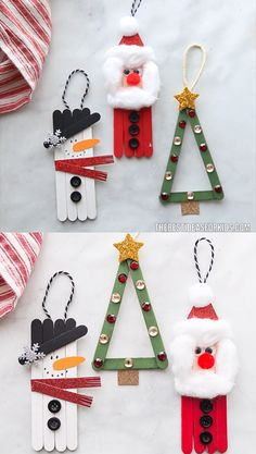 POPSICLE STICK CHRISTMAS CRAFTS - Make a snowman, Christmas tree or popsicle stick Santa! These popsicle stick Christmas crafts are so easy and fun to make! Make a snowman, Santa and Christmas tree with these step-by-step instructions and video. Popsicle Stick Christmas Crafts, Christmas Ornament Crafts, Handmade Christmas Decorations, Xmas Crafts, Craft Stick Crafts, Diy Christmas Gifts, Popsicle Crafts, Preschool Christmas Crafts, Santa Crafts