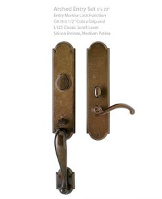 A Rocky Mountain Hardware Arched Entry Set is very elegant. Go to: http://rusticahardware.com/rocky-mountain-hardware-arched-entry-set-2-12-x-9-2/#