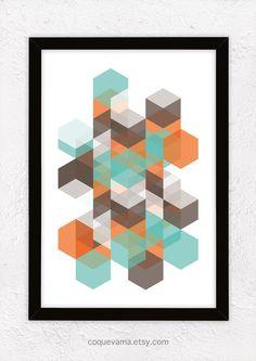 Kunstdruck, A4, Poster, Hexagone - Orange, Braun und Minze auf Etsy, 17,00€
