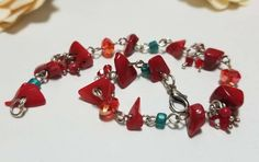 Excited to share the latest addition to my #etsy shop: Red coral and Turquoise Colored Beaded and Wire Wrapped Bracelet #coral #handmade #bracelet http://etsy.me/2jkoKq3