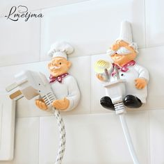 Buy Creative Design Strong Stick Home Kitchen Chef Wall Door Plug Power Cord Storage Rack Key Hanger Hook Holder Kitchen Accessories Decoration at Wish - Shopping Made Fun Kitchen Outlets, Kitchen Hooks, Smart Kitchen, Chef Kitchen, Kitchen Storage, Kitchen Dining, Tidy Kitchen, Design Kitchen, Hanger Hooks