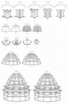 Schnittmuster Korsett,Reifrock Gr.32-40 | eBay