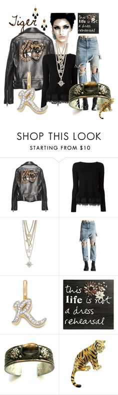 """""""Tiger"""" by kloeyblue ❤ liked on Polyvore featuring Gucci, R.J. Graziano, R13, Monica Vinader, C.R. Gibson and Elizabeth Showers"""