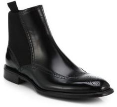 $1,075, Black Leather Chelsea Boots: Dolce