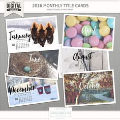 2016 Monthly Calender Templates, Stamps, & Printables