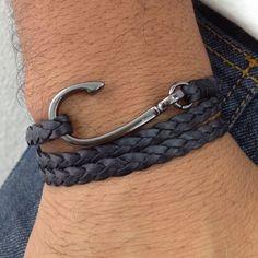 Pulseira masculina couro trançado anzol navy moda acessorios masculinos leather mens bracelets