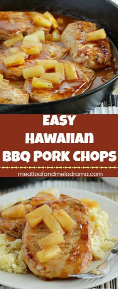 Hawaiian BBQ Pork Chops - A quick and easy dinner with pork loin chops in a sweet and tangy pineapple sauce. Cooks in one pan and takes less than 30 minutes! from Meatloaf and Melodrama dinner bbq Hawaiian BBQ Pork Chops - Meatloaf and Melodrama Hawaiian Pork Chops, Pineapple Pork Chops, Hawaiian Bbq, Pineapple Sauce, Easy Pork Chop Recipes, Pork Recipes, Recipies, Quick Recipes, Pork Lion Chops Recipes