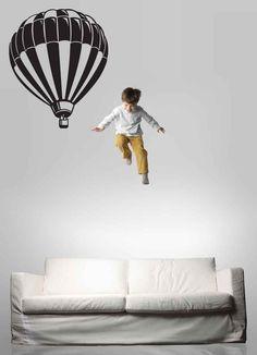 hot air balloon decal in white