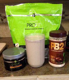 Smoothy time! 1 scoop It Works! Vanilla ProFit, 2 scoops It Works! Orange Greens, 2 tbsp PB2, 1 Magic Bullet with water & ice. 18 grams of protein, 155 calories, 3.5 grams of fat, 11 grams of carbs (4 grams fiber), 8 servings of fruits & veggies, 38 herbs & super foods, probiotics, and antioxidants  www.hutchskinnywrapstars.com