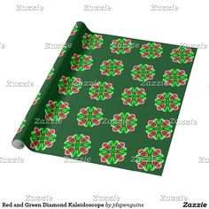 Red and Green Diamond Kaleidoscope Wrapping Paper