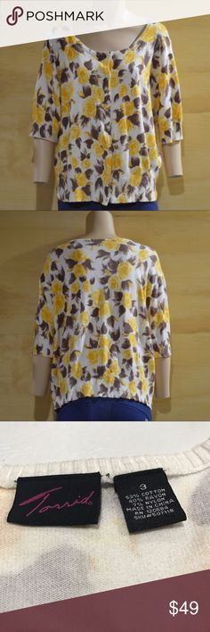 """Torrid Yellow Roses Short Sleeve Cardigan.      B2 Shirt sleeve cardigan with yellow roses. Torrid size 3. Last photo styling idea, same Print as worn by Suki Stackhouse on True Blood. Defects: pilling under arms. Condition: Excellent   Length: 23"""" shoulder to hem Bust: 45"""" Waist: 40""""  Mannequin  Neck 13"""" Shoulders 36"""" Bust 34"""" Waist 24.5""""  Smoke free home with cats and dogs. torrid Sweaters Cardigans"""