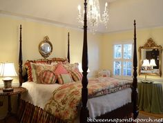Take a look through these photos showing before and after Master Bedroom with Crystal Chandelier
