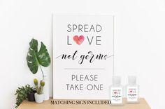 Hand Sanitizer Labels Wedding favor printable spread love not | Etsy