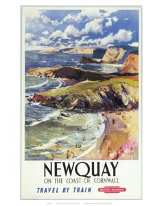Vintage Travel Poster - UK - Newquay - Railway