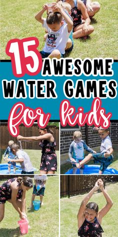 Whether you're looking for water games for kids or water games for adults, this list will have something to help you beat the heat this summer! Water ballon games, games to play in the sprinklers, and even one of the most water bottle flip games you'll ever play! Simply try one or ten of these fun water games on a hot summer day for guaranteed cool down fun! Water Ballon Games, Balloon Games, Water Games For Kids, Games For Teens, Summer Activities For Kids, Indoor Activities, Water Balloons, Water Party Games, Youth Games
