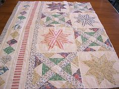 Vintage Cutter Quilt Pastel Patchwork Star Block Hand Quilted Project Piece 4-G
