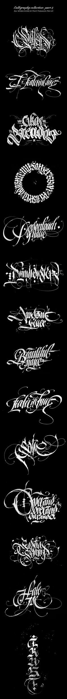 Calligraphy collection by By Pokras Lampas-- Each stroke evokes emotion Calligraphy Types, Types Of Lettering, Calligraphy Letters, Typography Letters, Lettering Design, Graffiti Tattoo, Graffiti Lettering, Cool Typography, Typographic Design