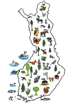 symbol map of Finland Finland Flag, Lapland Finland, Finnish Language, Geography For Kids, Postcard Book, World Thinking Day, Early Childhood Education, Pre School, Homeland