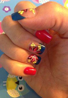 Right hand - nail art; summer fun. By Keri