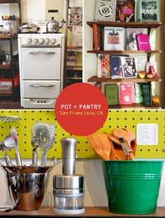 pot + pantry....buy, sell, trade  new, gently used, vintage kitchenware.......san fran......http://spottedsf.com/2013/01/02/spotted-san-francisco-mission-6/   Pantry-15