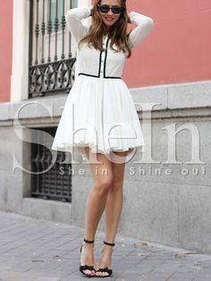 Robe+évasée+manches+longues+-blanc+28.12