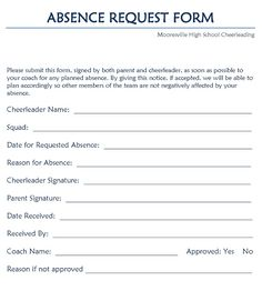 Application For Leave Form Extraordinary Leave Request Form  Project Management  Pinterest  Project Management