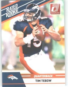 2010 Donruss Rated Rookies Football Card # 95 Tim Tebow - Denver Broncos (RC - Rookie Card) NFL Trading Card in Screwdown Case !