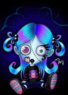 Cute Zombie, she reminds me of lynnley Cute Zombie, Zombie Art, Emo Art, Goth Art, Zombie Cartoon, Cartoon Art, Cartoon Drawings, Horror Comics, Arte Horror