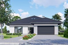ARCHI-PROJEKT - projekty gotowe domów jednorodzinnych: parterowych, z poddaszem, bliźniaczych, szeregowych. House Plans Mansion, New House Plans, Modern Bungalow House, Modern House Design, House Exterior Color Schemes, Exterior Design, House Extension Plans, Modern Driveway, Beautiful House Plans