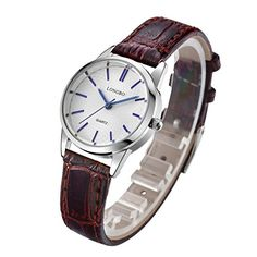 LONGBO Luxury Womens Brown Croco Leather Band Analog Quartz Business Watch Casual Chrome Case Couple Dress Watch Waterproof Blue Hands White Dial Wristwatch For Woman ** You can find more details by visiting the image link. (Note:Amazon affiliate link)