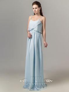 Long Chiffon Flutter Neckline Pale Sky Blue Bridesmaid Dress with Spaghetti Straps