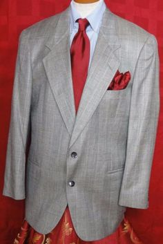 Pierre Cardin Gray Glen Plaid Wool Blend 2 Button Sport Coat Size 44R #PierreCardin #TwoButton
