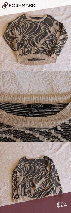 NIC + ZOE Black and Tan Patterned Sweater In good used condition. A super cute patterned sweater in natural colors, a great addition to any closet. Nic + Zoe is a brand sold by Nordstrom. NIC + ZOE Sweaters Crew & Scoop Necks
