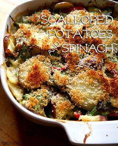 Lactose-free Scalloped Potatoes & Spinach, YUM! #LACTAID #sponsored