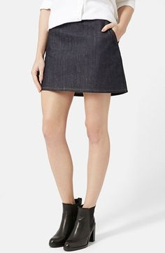 Topshop Moto A-Line Miniskirt (Mid Denim) available at #Nordstrom