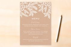 Leaves and Kraft Menu Cards by Katharine Watson at minted.com
