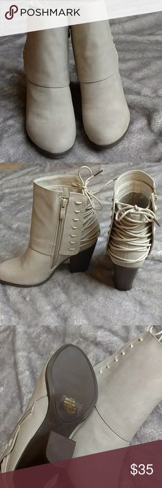 Corset Lace Heeled Booties w/ box Worn once, inside the house. Suede type material. Can untie the back and tighten/loosen them. Easy to walk in. They are a cream/tan color. Shoes Ankle Boots & Booties